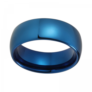8mm Blue Domed Polished Tungsten Carbide Ring 2