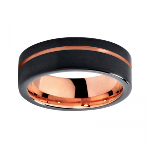 8mm Polished Black Tungsten Carbide Ring With Rose Gold Lining And Offset Groove 2