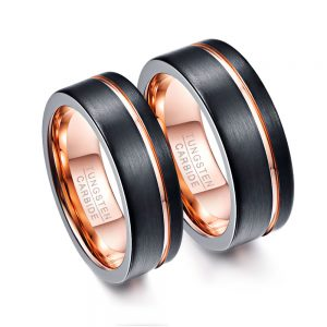 Black Pipe Cut Tungsten Carbide Wedding Rings with Rose Gold Offset Groove and Inner Surface from Custom Tungsten Rings