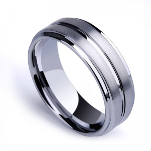 Silver Tungsten Ring with Matt Surface Centre Groove and Polished Stepped Edges