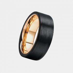 8mm Black Pipe Cut Brushed Effect Finish Custom Tungsten Rings Thumb