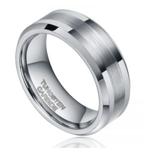 Mens 8mm Silver Two Tone Colour Tungsten Ring