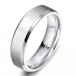 Brushed Silver Titanium Ring With Polished Bevelled edges and Lining