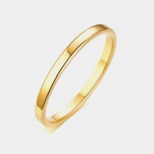 Gold 2mm Polished Wedding Custom Tungsten Rings Thumb