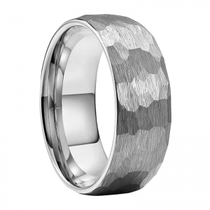Hammered Brushed Effect 8mm Silver Tungsten Ring