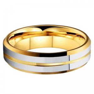 Tungsten 6mm Gold Ring With Double Silver Bands 2