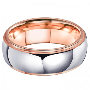 Tungsten 6mm Domed Siler Wedding Ring Rose Gold Lining 2