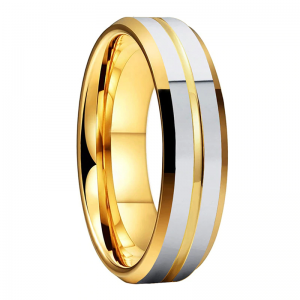 Tungsten 6mm Gold Ring With Double Silver Bands