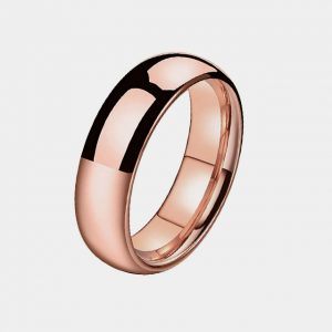 Domed 6mm Rose Gold Wedding Custom Tungsten Rings Thumb