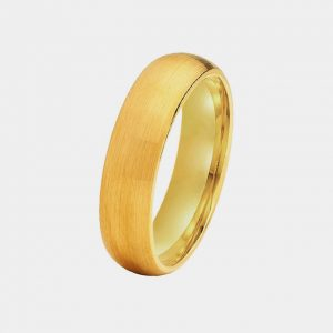 Tungsten 6mm Gold Brushed Finish Dome Shape Polished Lining customtungstenrings.co.uk Thumb