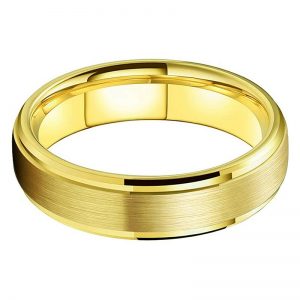 Tungsten 6mm Brushed Effect Gold Ring 2