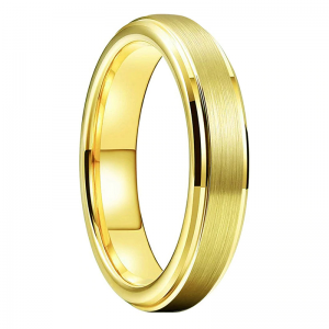 Tungsten 4mm Gold Wedding Ring With Brushed Finish