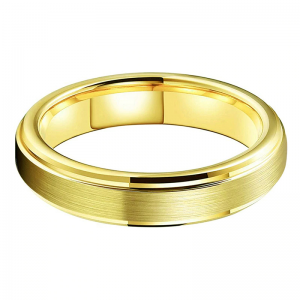 Tungsten 4mm Gold Wedding Ring With Brushed Finish 2