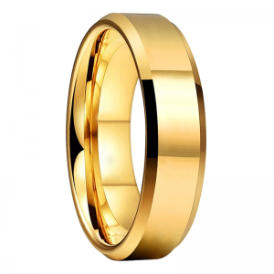 Tungsten 6mm Polished Gold Bevelled Edged Wedding Ring