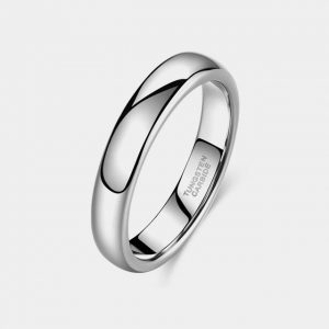 4mm Domed Silver Wedding Custom Tungsten Rings 4 - 6