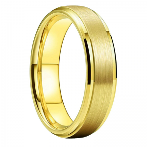 Tungsten 6mm Brushed Effect Gold Ring