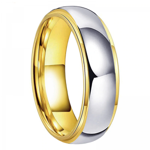 Tungsten 6mm Silver & Gold Stepped Edge Ring