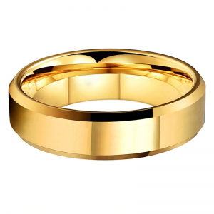 Tungsten 6mm Polished Gold Bevelled Edged Wedding Ring 2