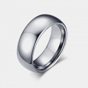 8mm Domed Silver Wedding Tungsten Ring