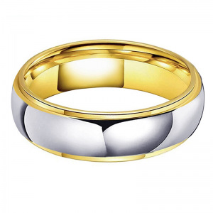 Tungsten 6mm Silver & Gold Stepped Edge Ring 2