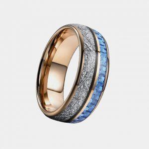 Rose Gold Blue Carbon Fibre Imitation Meteorite Inlay Custom Tungsten Rings Thumb