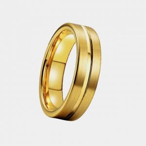 Tungsten 6mm Gold Brushed Finish Ring with Polished Bevelled & Lining and Centre Groove customtungstenrings.co.uk Thumb