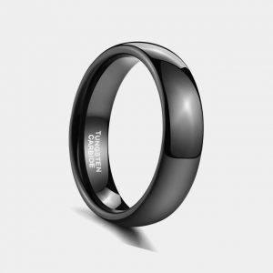 6mm Black Polished Domed Custom Tungsten Rings Thumb