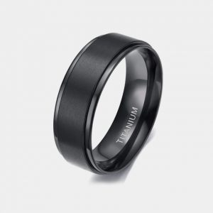 Titanium 8mm Black Brushed Ring With Stepped Edges 2