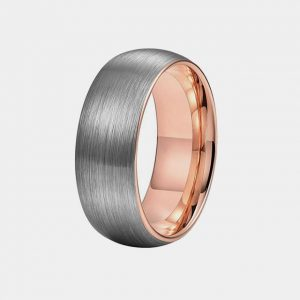 Tungsten 8mm Domed Brushed Silver & Rose Gold Lining