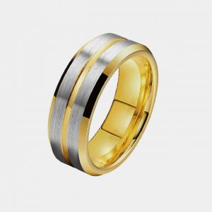 Mens 8mm Gold with Double Silver Inlaid Stripe Custom Tungsten Rings Thumb