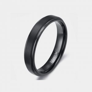 Titanium 4mm Black Brushed Ring With Stepped Edges