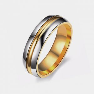 Titanium 6mm Domed Polished Silver Gold Centre Groove & Lining customtungstenrings.co.uk thumb