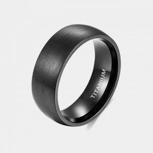 Titanium 8mm Black Domed Brushed Effect Ring customtungstenrings.co.uk Thumb