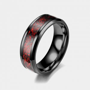 Titanium 8mm Black Ring Red Dragon Inlay