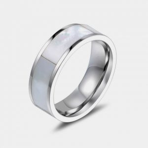 Titanium 8mm Inlaid Mother of Pearl with Silver Lining customtungstenrings.co.uk thumb