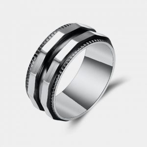 Titanium 8mm Silver & Black Ring With Twin Dodecagon Edges customtungstenrings.co.uk thumb