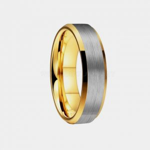 Tungsten 6mm Brushed Silver Gold Lining Bevelled Edges