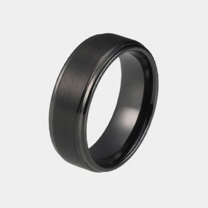 Tungsten 8mm Black Ring With Stepped Edges customtungstenrings.co.uk thumb