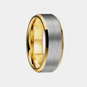 Tungsten 8mm Brushed Silver Gold Lining Bevelled Edges