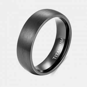 Titanium-6mm-Black-Domed-Brushed-Effect-Ring-customtungstenrings.co.uk-Thumb