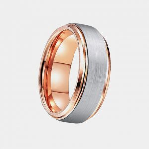 Tungsten 8mm Rose Gold Lining Silver Brushed Metal Stepped Edge